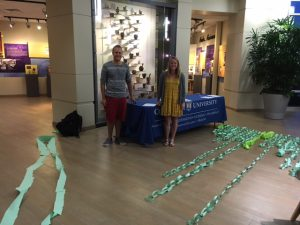 Pre-Pharmacy Student Organization members (and event helpers) admire the paper chains.
