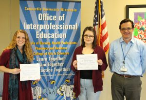 Pictured left to right: Tracy Marsh & Nadia Ramirez (Social Work) & Michael Oldani (Coordinator of IPE @ CUW).