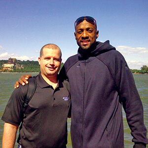 Dave Beyer and Alonzo Mourning, NBA hall-of-famer and vice president, player programs, with the Miami Heat.