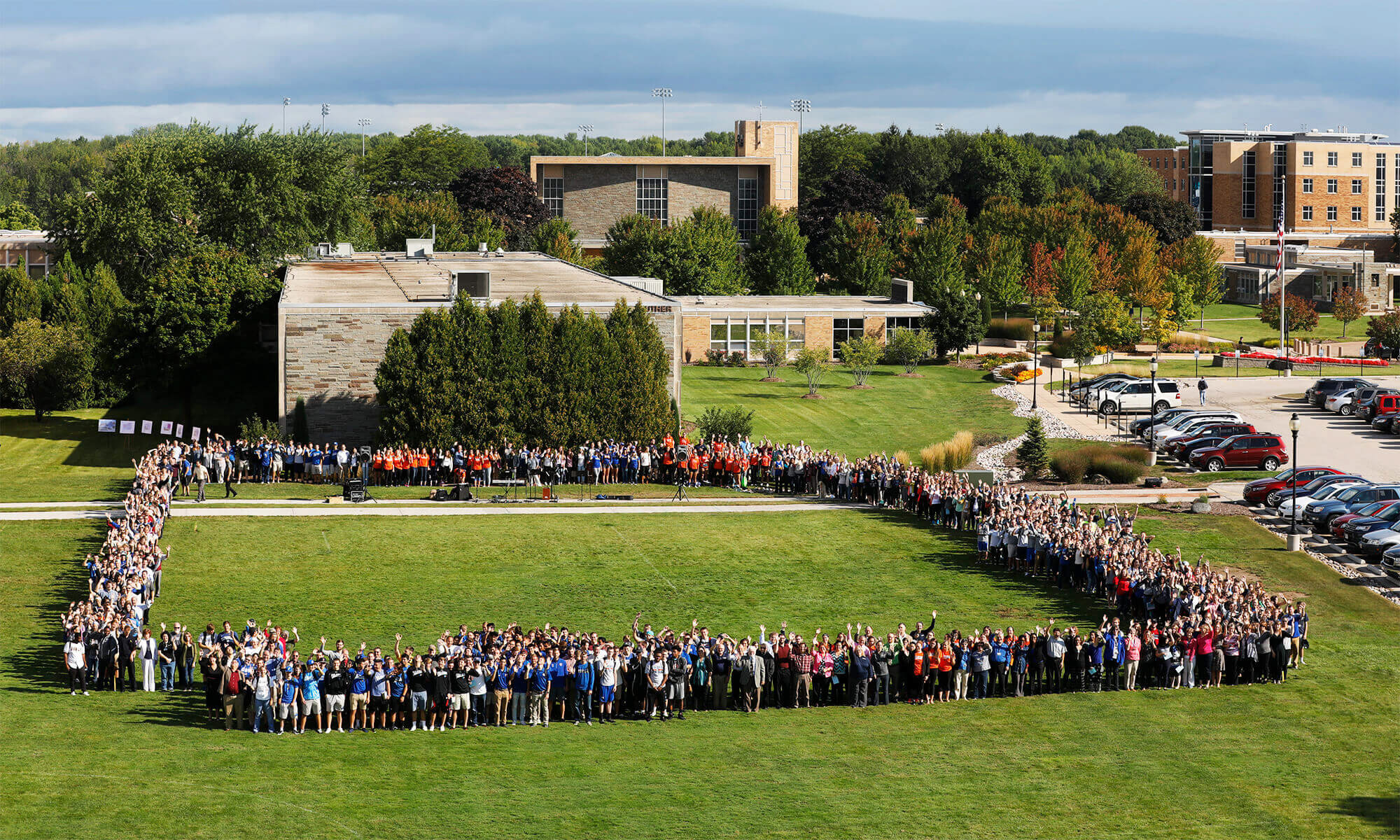 Concordians stake out the footprint of a new academic building