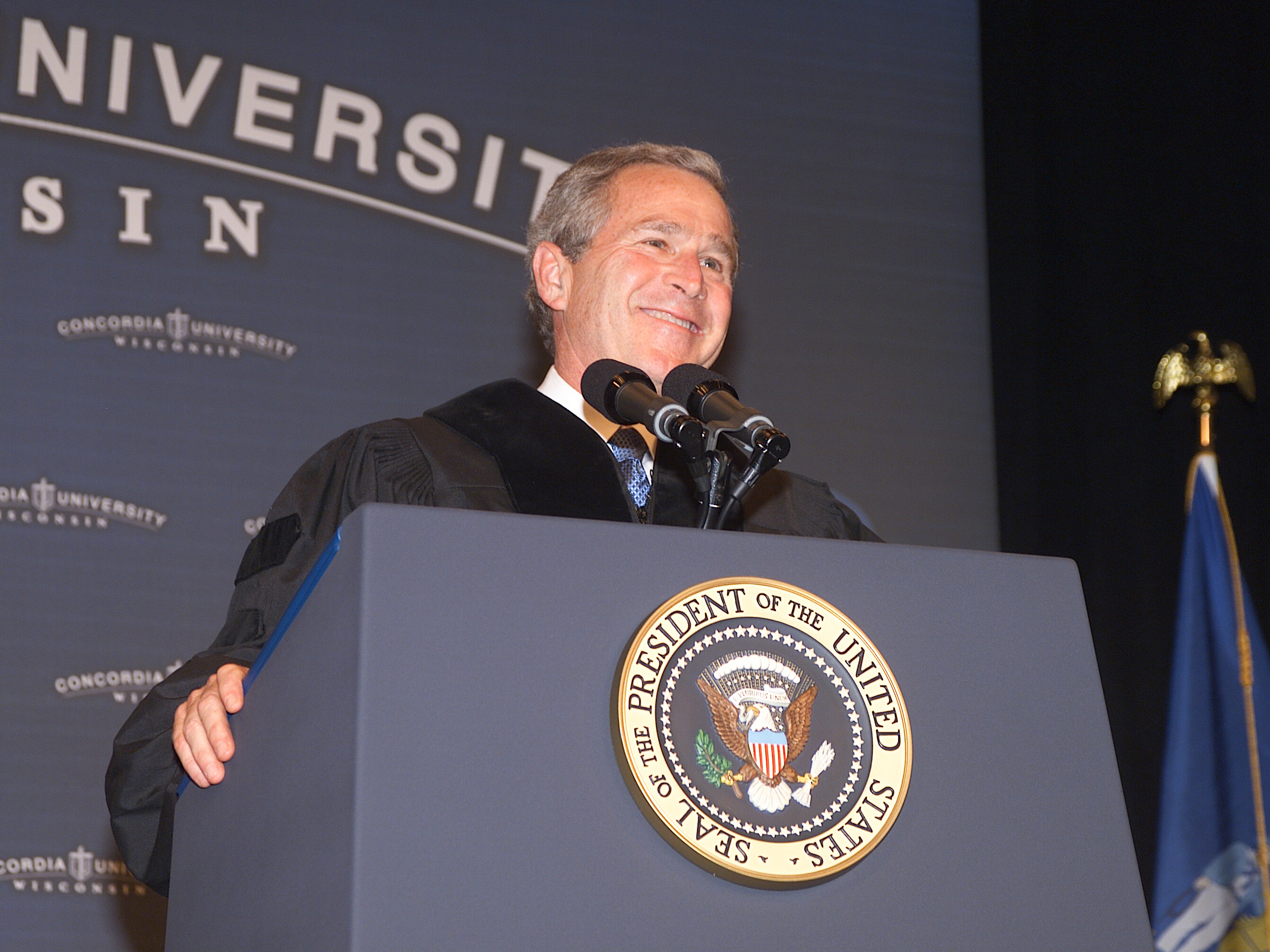 President George W. Bush speaks at Concordia's 2004 commencement ceremony.
