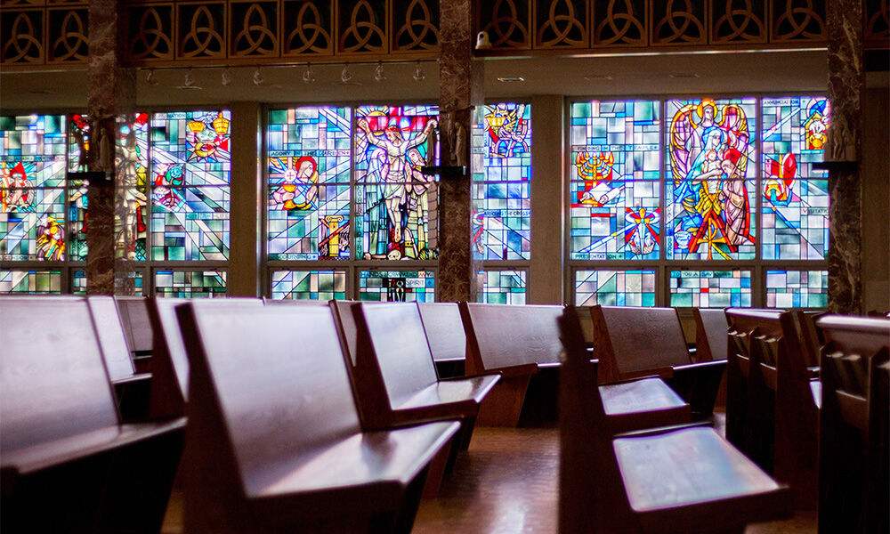 A view of the stained glass windows in the Chapel of Christ Triumphant at Concordia University Wisconsin.