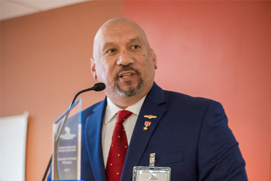 Direct of Veteran Services Ed Garza delivers his acceptance speech on May 25.