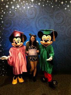 Gabby Tolfa with Disney College Program certificate