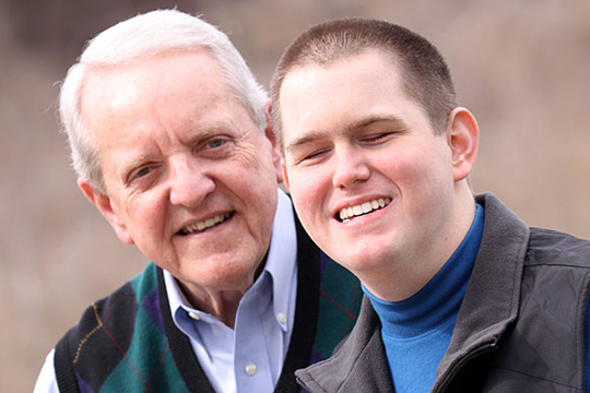 H.K. Derryberry, a 27-year-old motivational speaker from Nashville, Tennessee and his friend and mentor Jim Bradford, a retired business man from Brentwood, Tennessee.