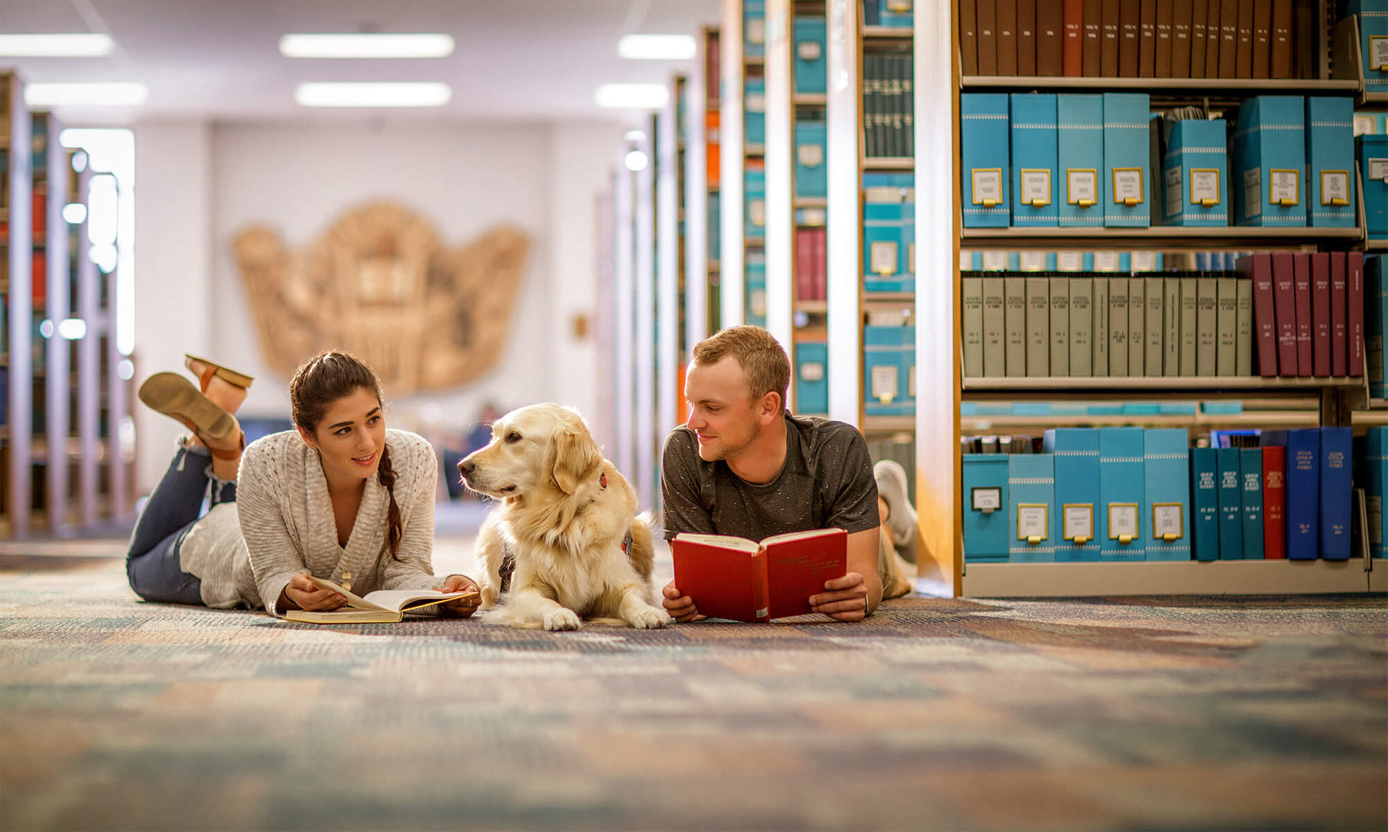 Concordia students read in the library with Zoey, Concordia's certified comfort dog.