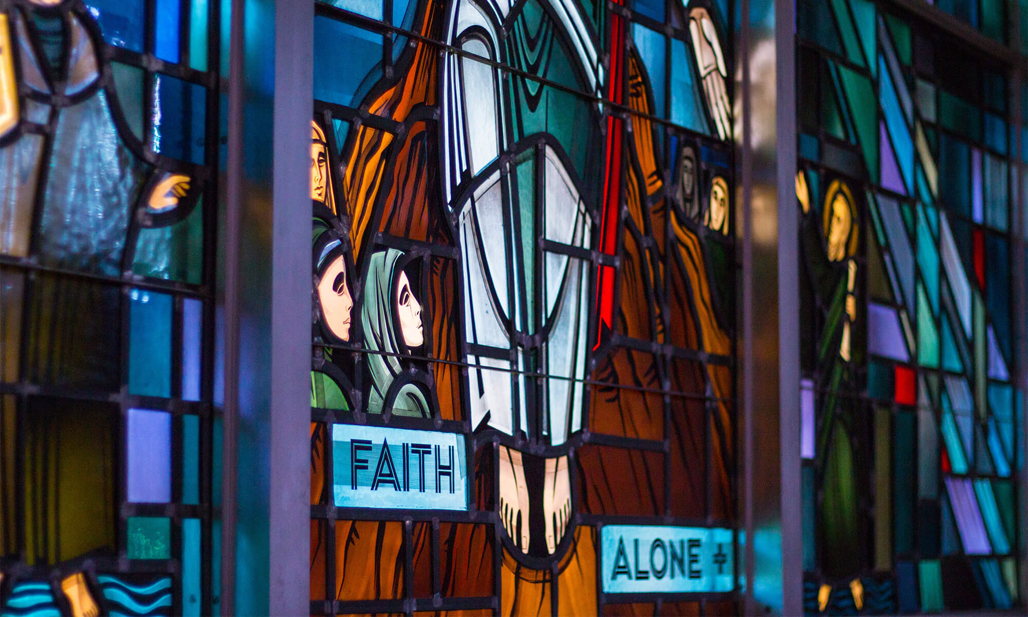 The Chapel of Christ Triumphant houses stained glass windows donated by the Wangerin family.