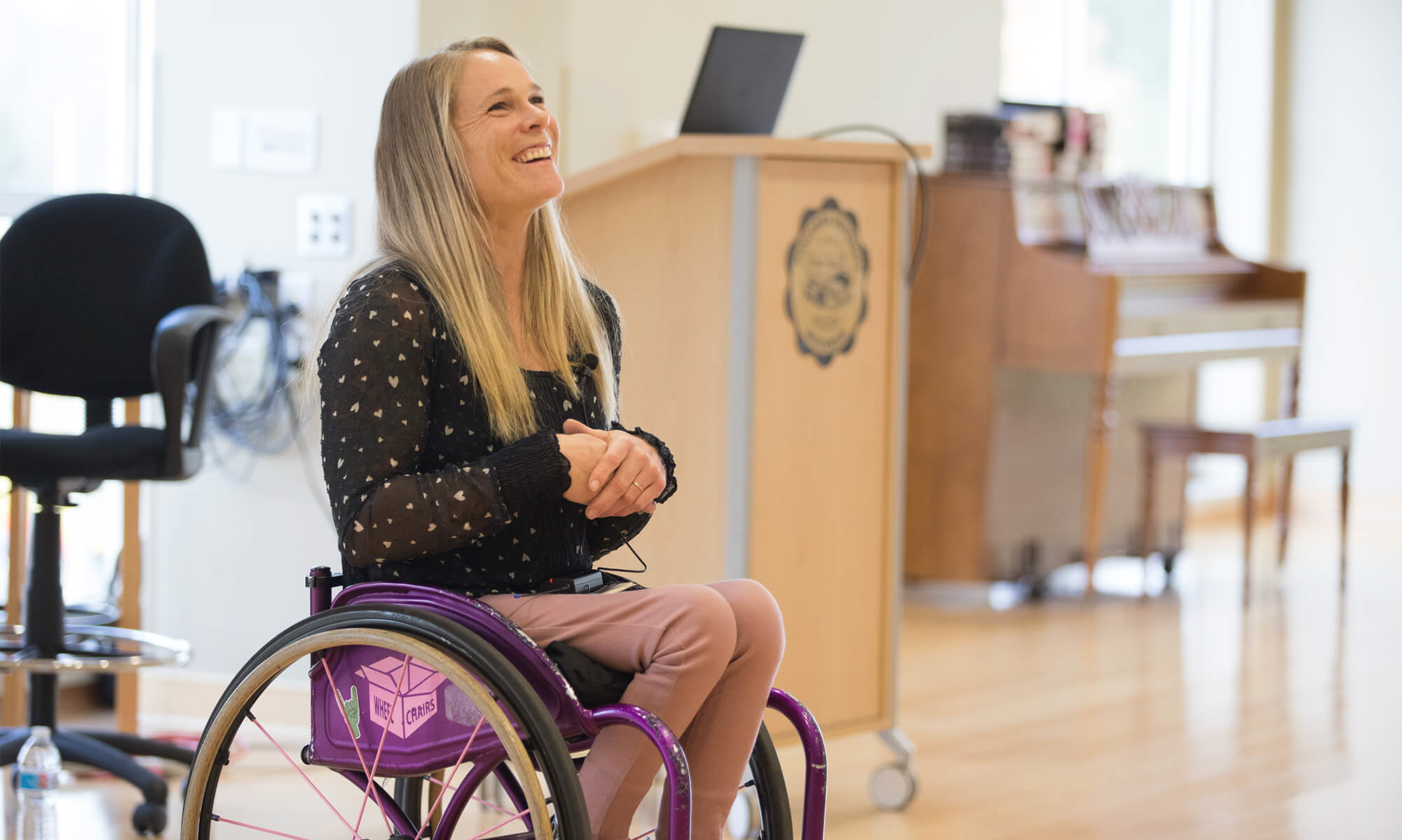 Paralympian Kaitlyn Verfeuth speaks during Concordia University's All Abilities Awareness Day.