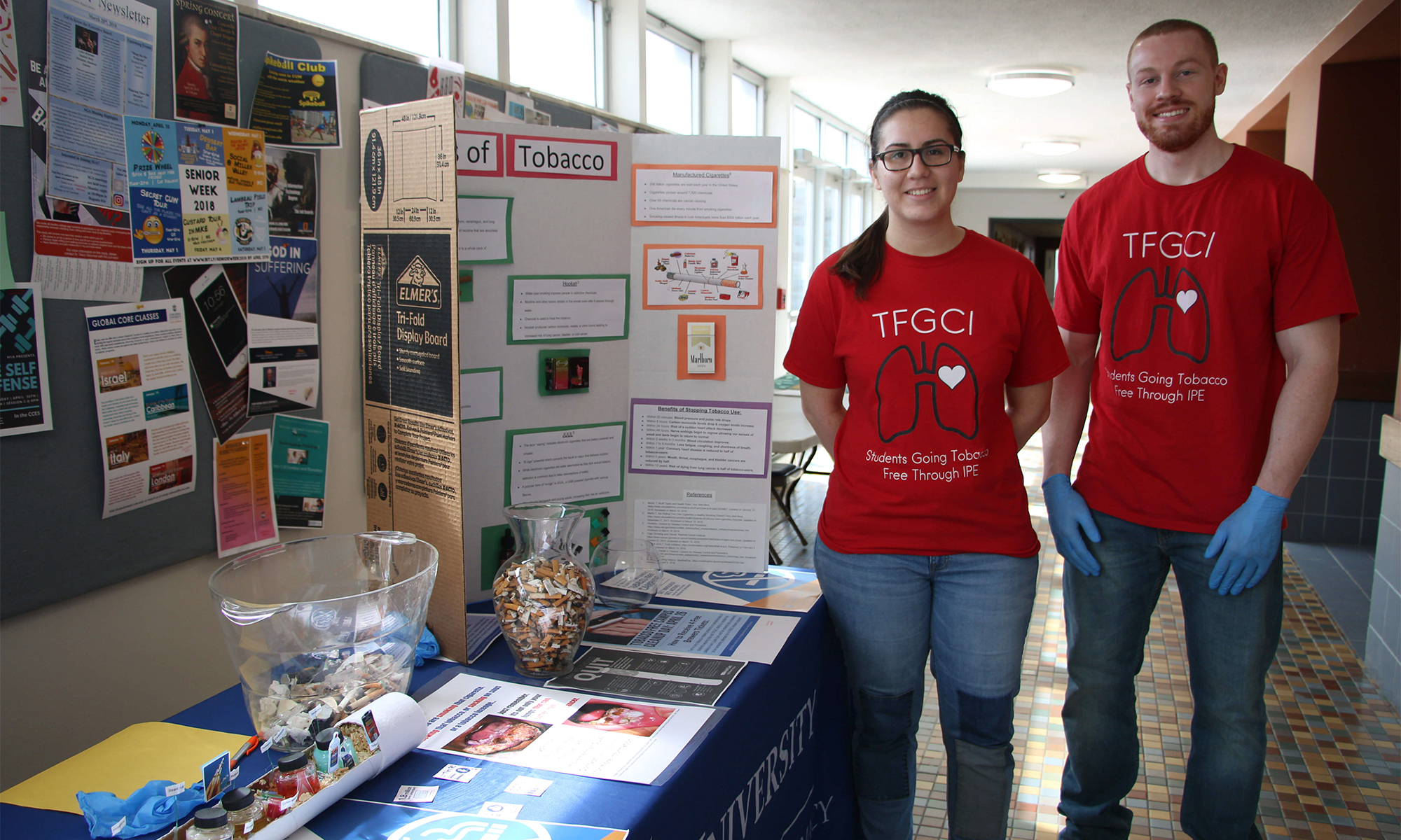 Alex Restaino and Mike Van Oever were two of the CUW students involved in a campus wide tobacco cessation effort on Thursday, April 26.