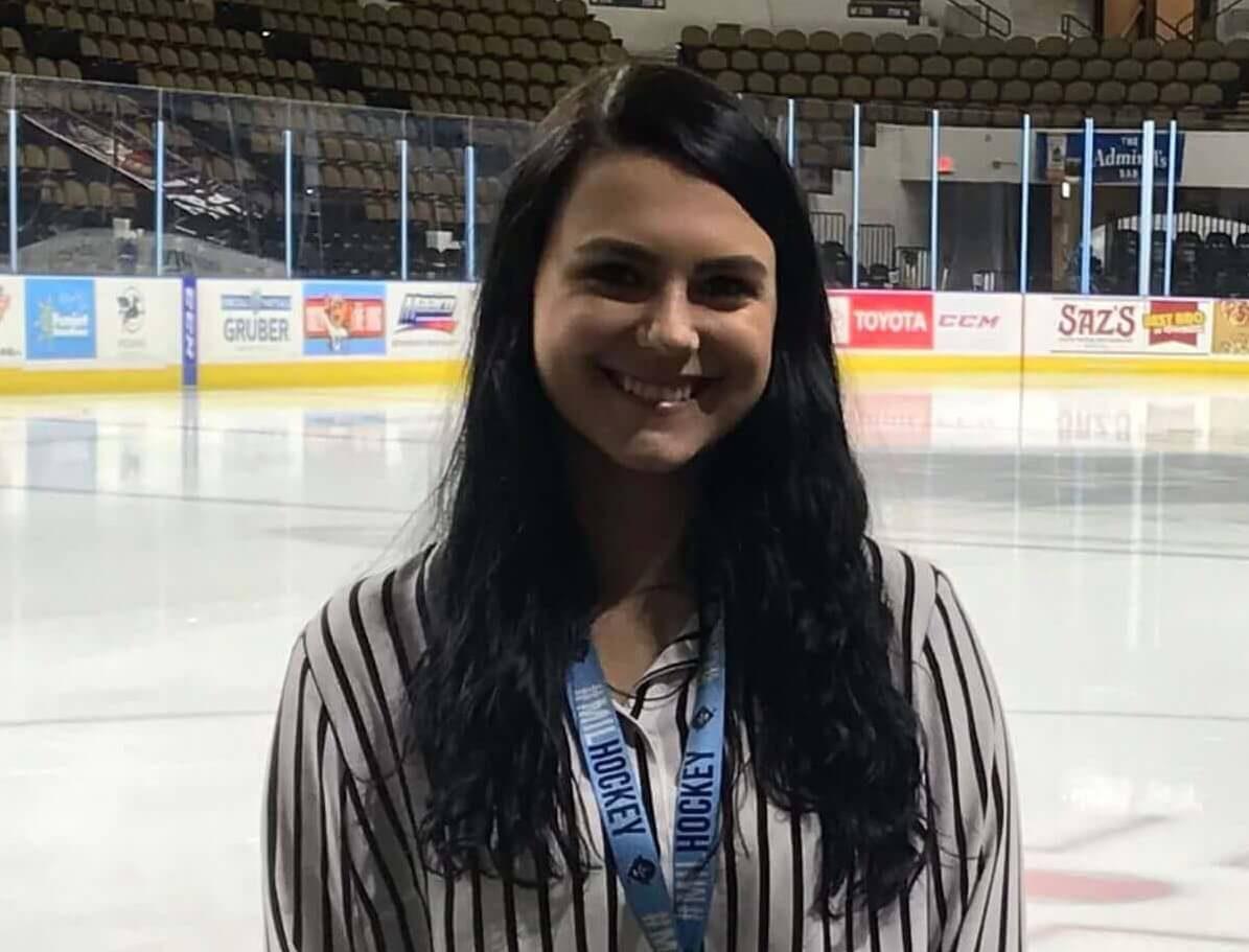 Gabby Tolfa at Milwaukee Panther Arena during Milwaukee Admirals internship