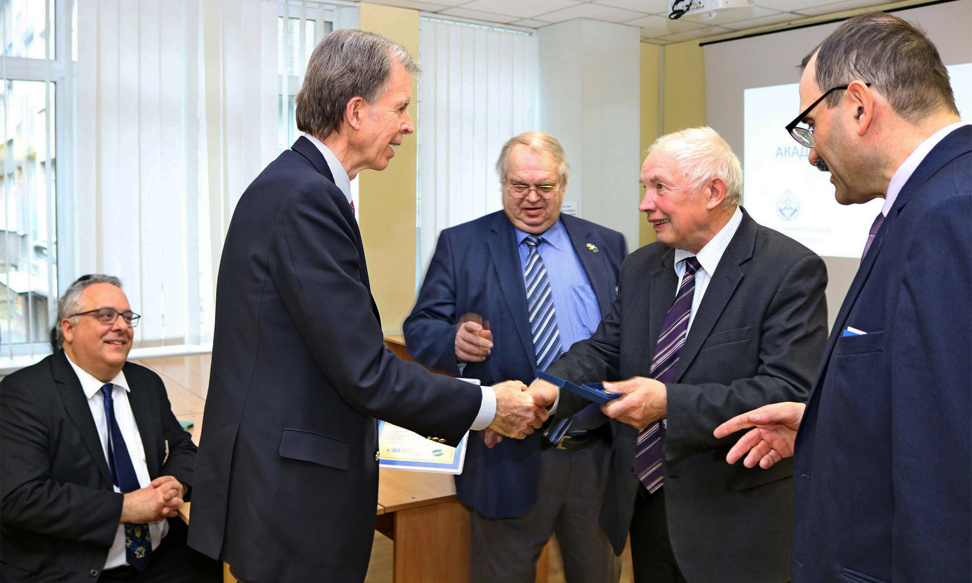 Dr. David Birner meets with Ukrainian university leaders.