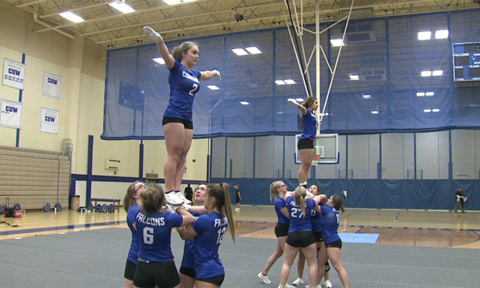 Acro-tumbling combines cheerleading, gymnastics; helps put Concordia University on the map