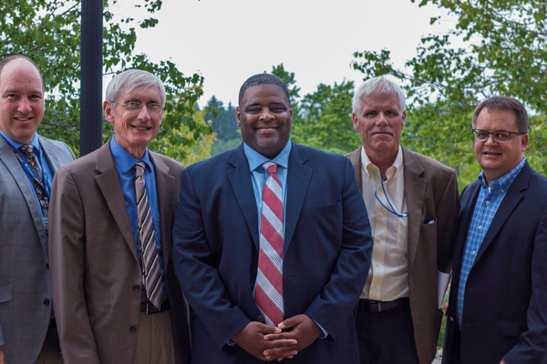 From left to right: Dr. Michael Uden, CUW Dean of the School of Education, Dr. Tony Evers, State Superintendent of Education, Dr. Demond Means, Outgoing Superintendent of Mequon-Thiensville School District, Dr. Michael Thompson, Deputy State Superintendent, Mr. Larry Smalley, New Chair of CAGC and Superintendent of Glendale/River Hills