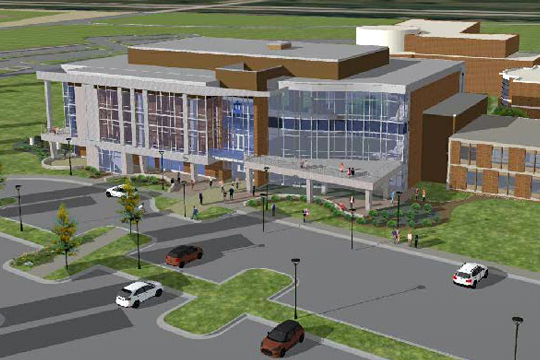A rendering of the Robert W. Plaster Free Enterprise Center.