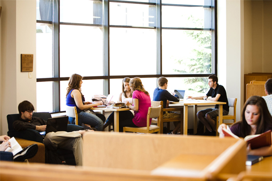 Students in the Rincker Memorial Library