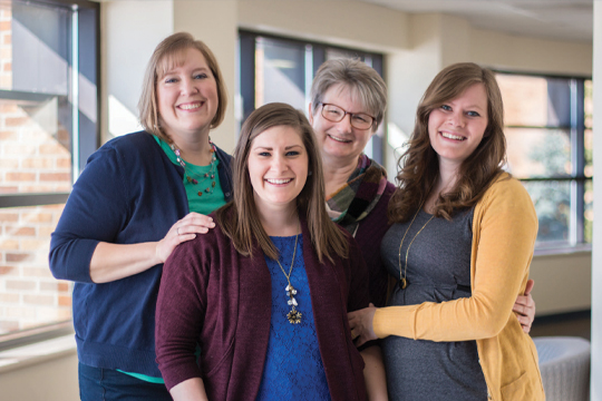 OSSA: Concordia's Online Student Success Advisors include, from left, Allison Wolf, Jessica Valdes, Susie Pipkorn, and Gayle Frisque. No pictured: Heidi Tupper and Katy Klein.