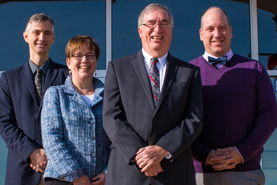 Dr. William Cario (front) will serve as Provost and Chief Academic Officer with three Vice Provosts—(from left) Dr. Bernard Bull, Dr. Leah Dvorak, and Dr. Michael Uden—under him.