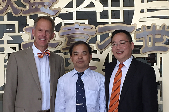Pictured: President Ferry with SNUTHC President Dr. Caifu YE and SNUTHC Dean of the School of Health Dr. Yaping Zhu.
